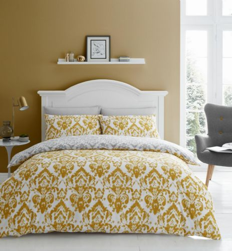 Catherine Lansfield Damask Ochre Bedding Set